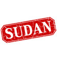sudan red square grunge retro style sign vector image vector image