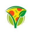 vegan pizza logo vector image vector image