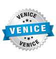 Venice round silver badge with blue ribbon vector image vector image