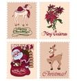 Vintage Christmas Stamps Raindeer Santa vector image