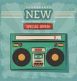 vintage technology stereo cassette music vector image vector image
