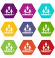 web community icons set 9 vector image