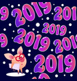 2019 seamless pattern with pig vector image vector image