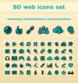 50 blue web icons set vector image vector image