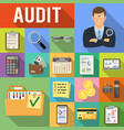 auditing tax accounting flat icons set vector image vector image