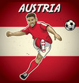 austria soccer player with flag background vector image vector image