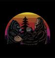 bigfoot and gorilla brothers retro vector image