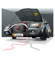 black cartoon car with open hood in the garage vector image