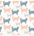 blue pink and grey pastel kitty cat silhouette vector image