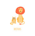 brotherhood concept with cartoon lion and cat vector image