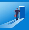 businessman opening secret door opportunity vector image