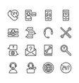 call center and support icon set vector image vector image
