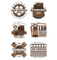 car service repair shop retro icon with auto part vector image vector image
