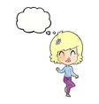 cartoon pretty woman dancing with thought bubble vector image