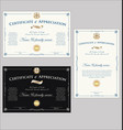 certificate or diploma retro design collection 1 vector image