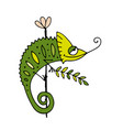 chameleon cartoon sketch for your design vector image