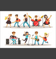 children musicians performing on stage on talent vector image vector image