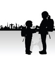 children silhouette with famous monument vector image vector image