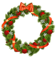 Christmas Wreath with Red Decorations vector image vector image