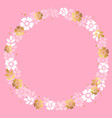 circle frame of white and golden flowers on pink vector image
