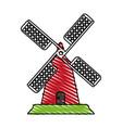 color crayon stripe cartoon farm windmill vector image vector image