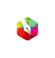 creative pen logo vector image vector image