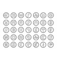 currency symbols world isolated on white vector image vector image