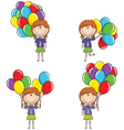 Cute girls with color balloons vector image vector image