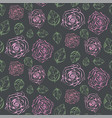 dark pattern with pale pink roses and green leaves vector image vector image