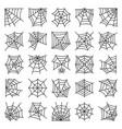 editable stroke spider web thin line icon set vector image