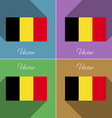Flags Belgium Set of colors flat design and long vector image vector image