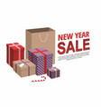 gift boxes and shopping bags new year sale vector image vector image