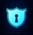 glowing neon shield with keyhole icon isolated on vector image vector image