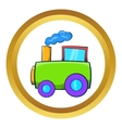 Green toy train icon vector image vector image