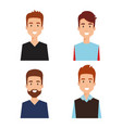 group of men avatars characters vector image