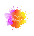 happy birthday card with blobs white background vector image vector image