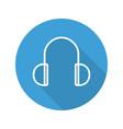 headphones flat linear long shadow icon vector image vector image