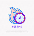 hot time clock in fire thin line icon vector image vector image