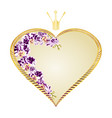 label golden heart with a crown orchid vector image vector image