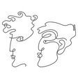 man and woman faces in one line drawing style vector image vector image