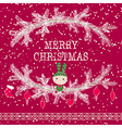 Merry christmas greeting card cute toy bunny vector image vector image