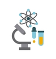 microscope laboratory scientific line icons vector image