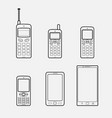 mobile phone to smartphone evolution vector image vector image
