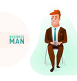 modern business man in the office sitting on the vector image vector image