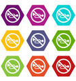 no horn traffic sign icon set color hexahedron vector image vector image