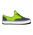 pair of sneakers a side view in green color vector image