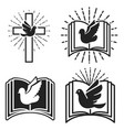 religious community emblem template with dove vector image
