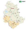 road and administrative map umbria italy vector image vector image