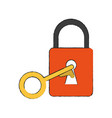 safety lock with key icon image vector image vector image
