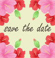 Save the date card with flowers vector image vector image